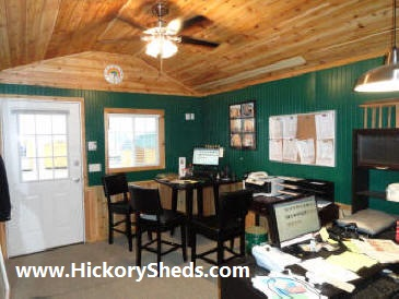 Inside an Old Hickory Sheds 12'x16' Utiltiy Sales Office