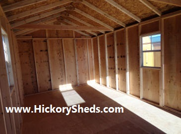 Inside an 12'x20' Old Hickory Sheds Cabin
