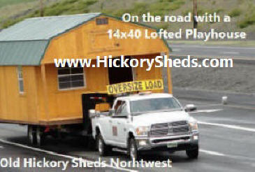 Old Hickory Sheds 14x40  Lofted Barn with the Playhouse Package being delivered